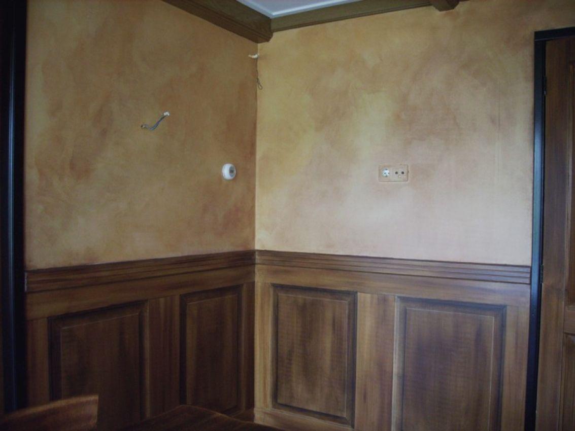 Hout marmerimitatie houtlook ontvangstruimte zwartsluis art decor randolph algera - Wallpaper imitatie lambrisering ...
